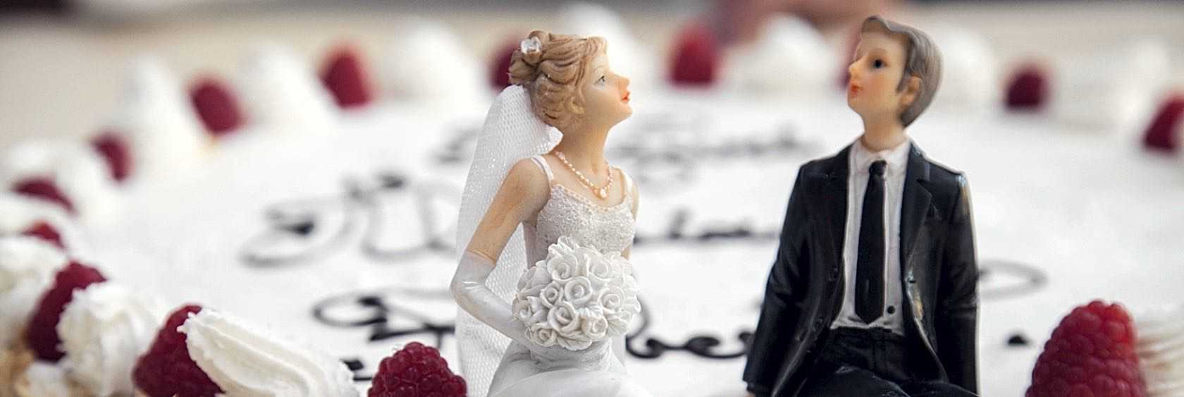 Ornament of married couple on a cake
